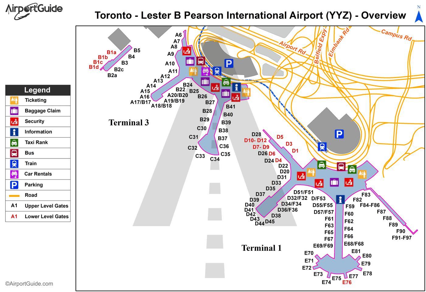 Carte Canada Aeroport.Toronto Carte De L Aeroport L Aeroport International De